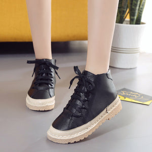 PU Zipper Spring/Fall Daily Lace-up Platform Boots