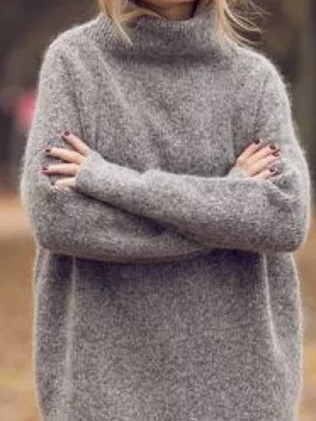 Gray Casual Turtleneck Sweater