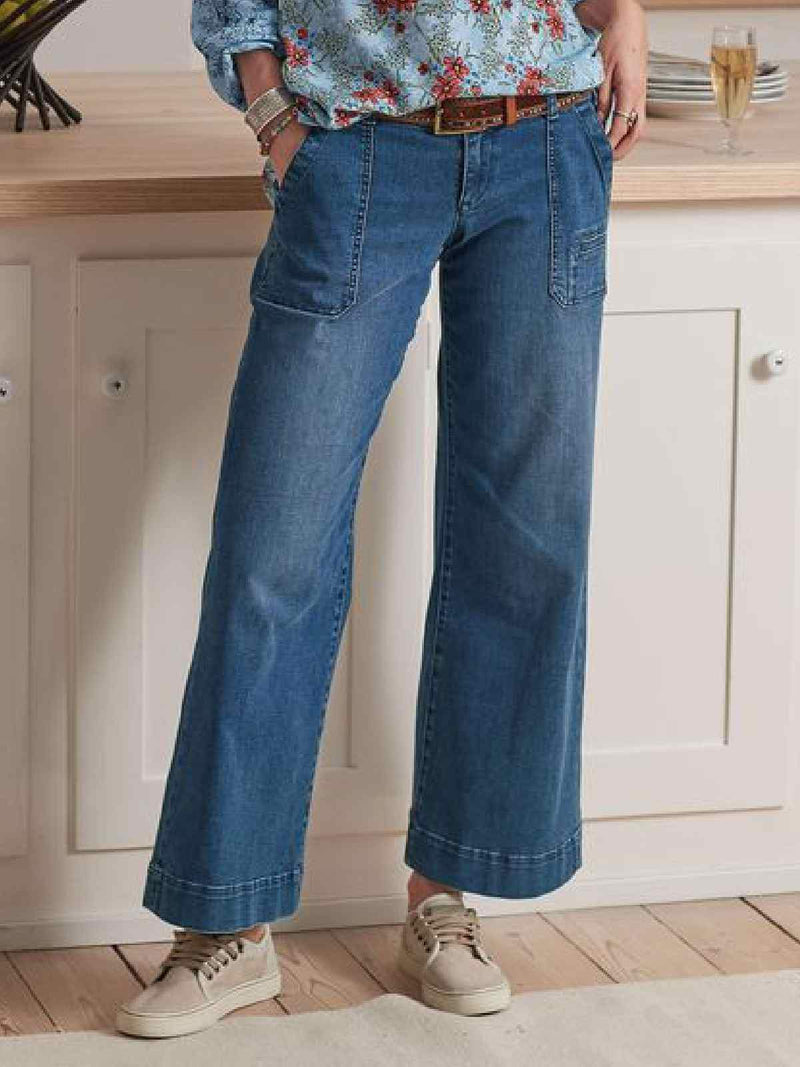 Plus Size Denim Solid Casual Pants