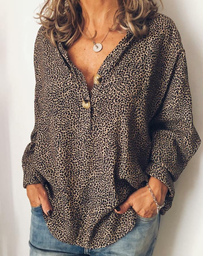 Cotton-blend V Neck Long Sleeve Casual Blouse
