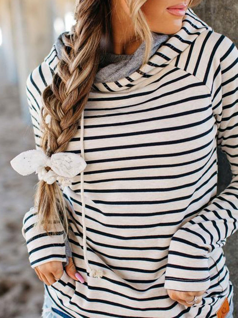 Black&White Stripe Print Draw-String Hooded Neckline Sweatshirt