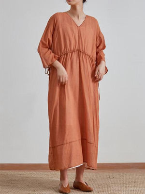 Casual 3/4 Sleeve v Neck Plus Size Dress