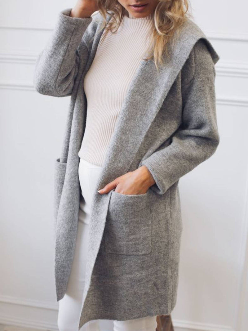 Gray Plain Cotton-Blend Hoodie Long Sleeve Outerwear