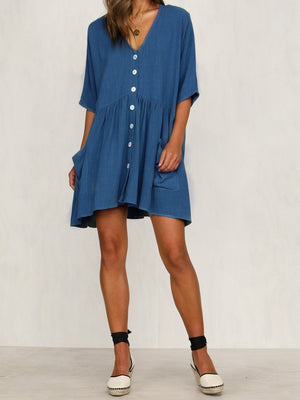 Solid Buttons Pockets V Neck Medium Sleeve Mini Dress