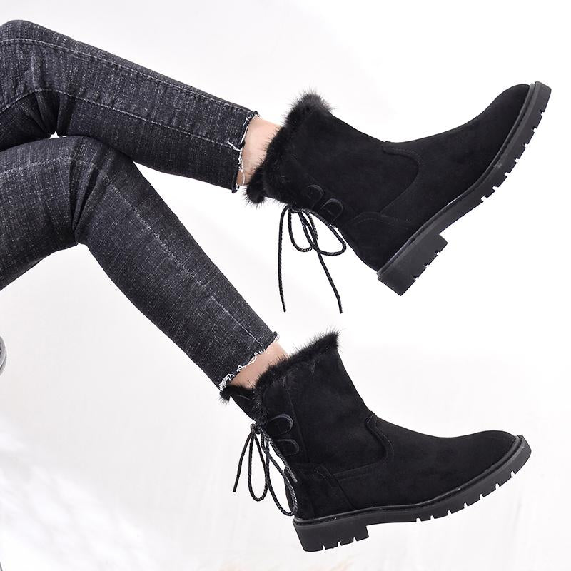 Black Flat Ankle Boots with Back Lace-up