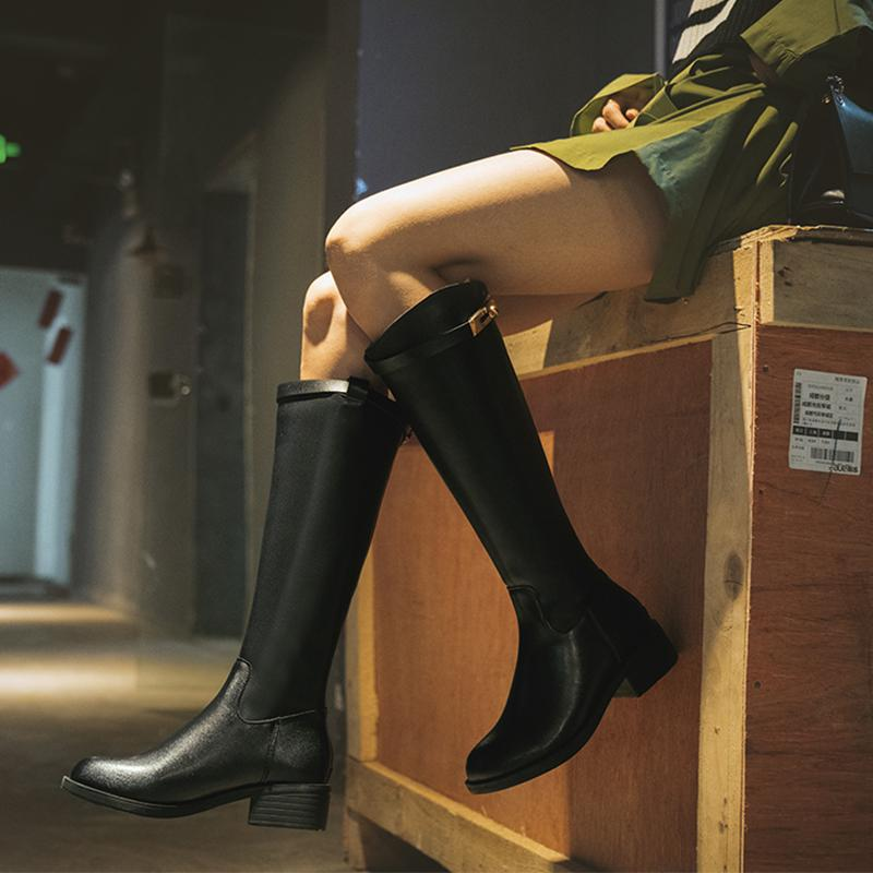 Plain Low-heel Knee-high Boots
