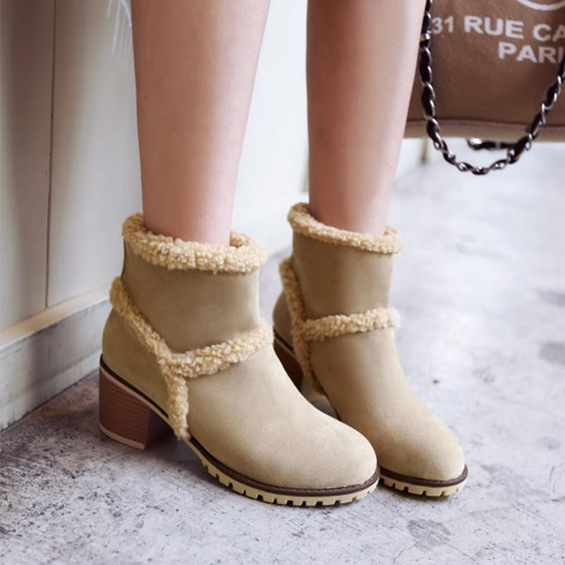 Antiskid Chunky High Heel Slip-on Ankle Boots