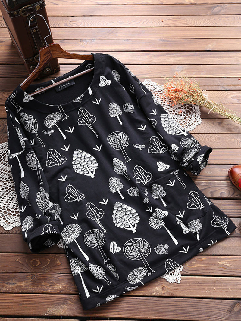 Casual Printed Round Neck Long Sleeve Straight Blouses