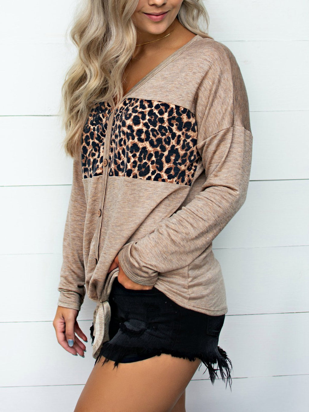 Leopard Stitching V-neck Tie Top