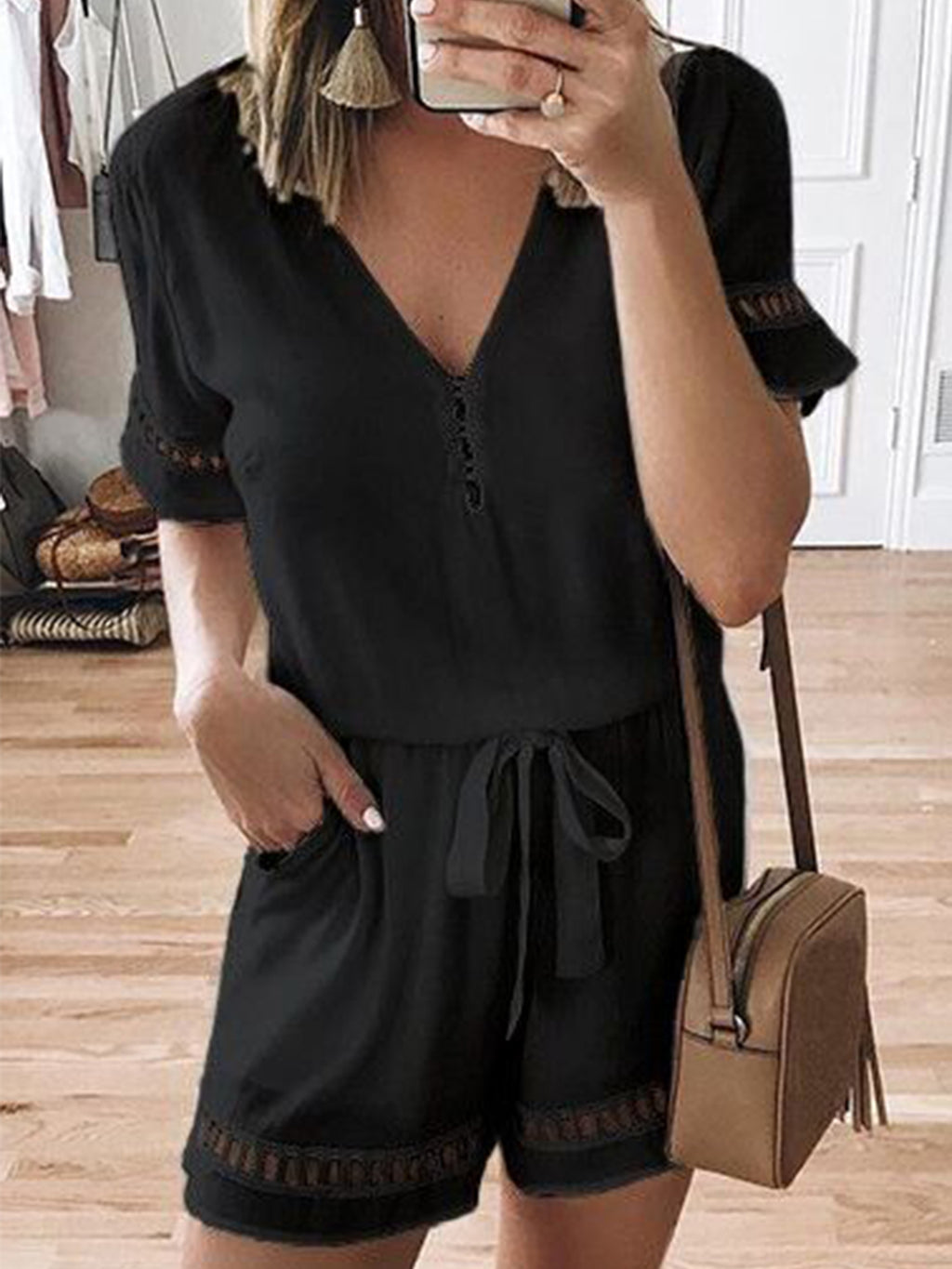 Solid V Neck Short Sleeve Plus Size Jumpsuit
