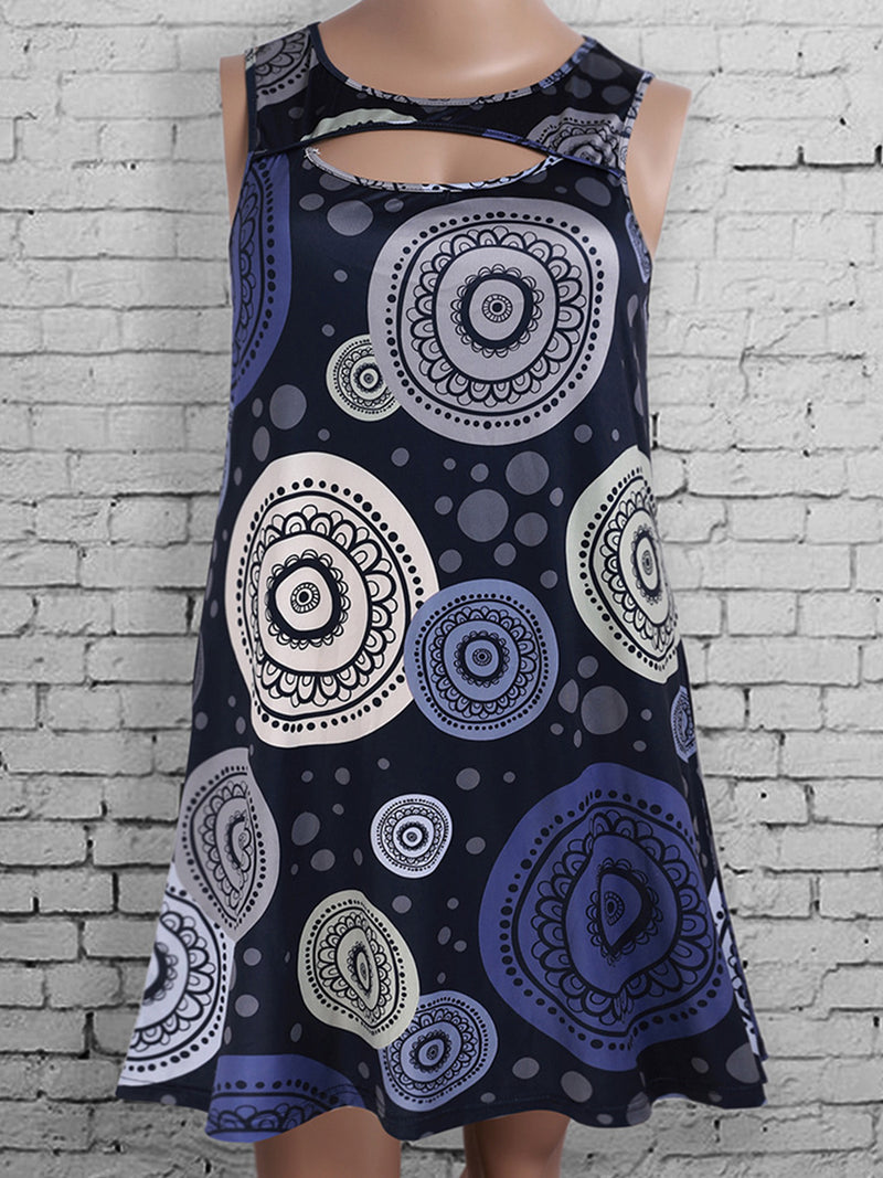 Floral Crew Neck Sleeveless Plus Size Midi Dress
