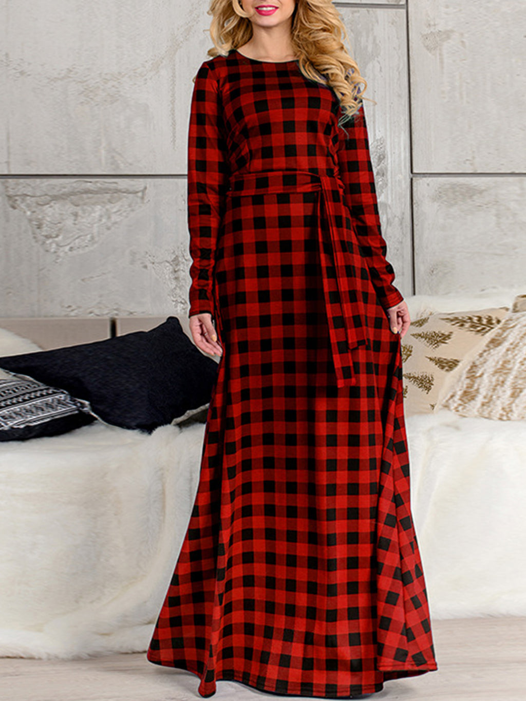 Red Plaid Round Neck Long Sleeve Plus Size Maxi Dress