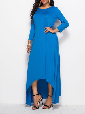 Solid Round Neck Long Sleeve Plus Size Maxi Dress