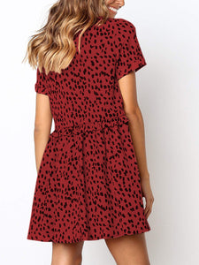Floral Round Neck Short Sleeve A-line Mini Dress