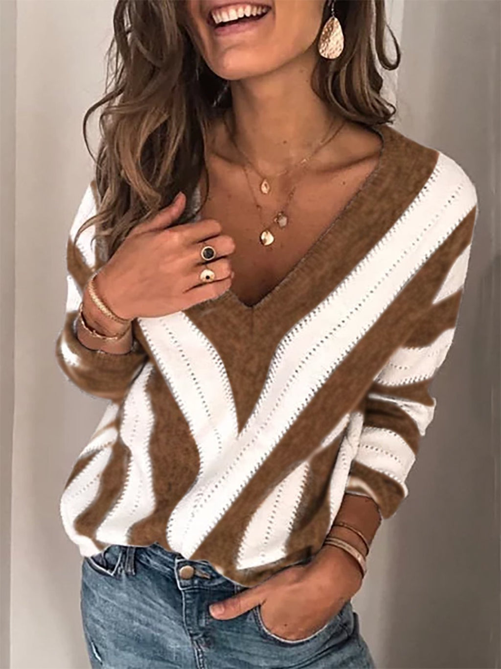Geometric V-neck sweater