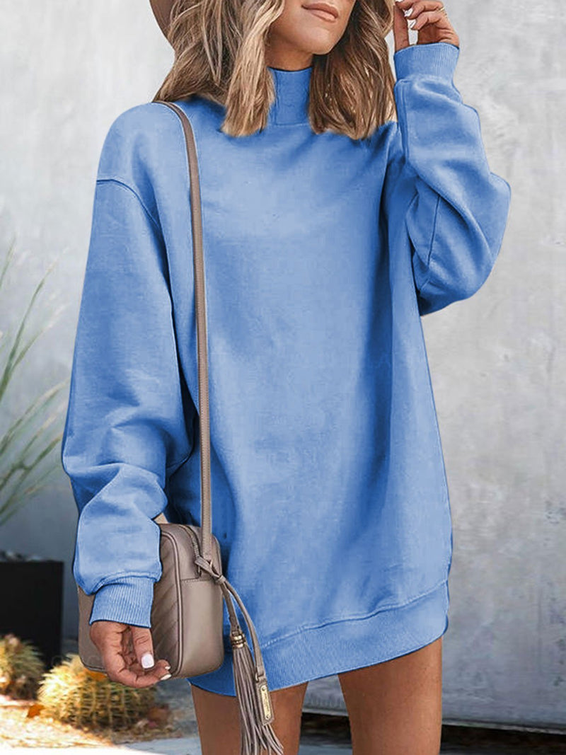 Casual Long Sleeve Solid Sweatshirt Mini Dresses