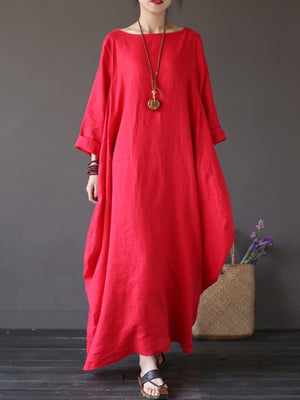 Round Neck Pocket Plain Maxi Dress