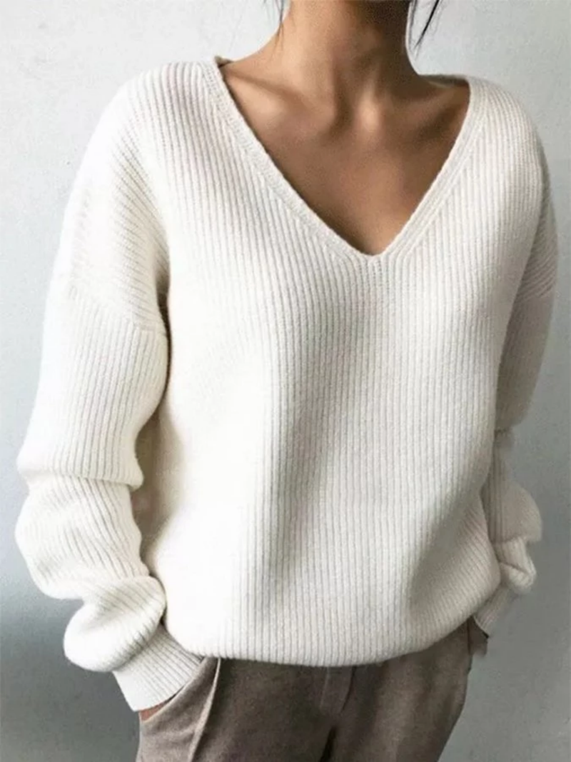 Solid V Neck Long Sleeve Cotton Sweater