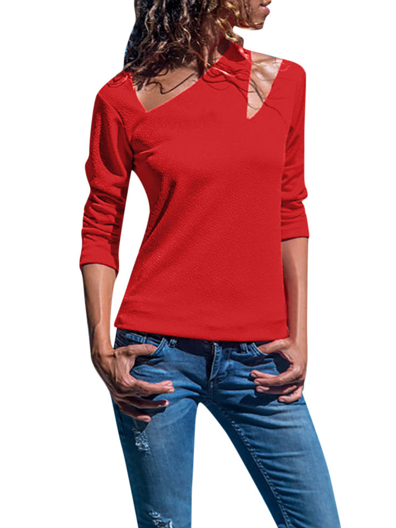Solid Long Sleeve Fit Knitted Irregular T-shirt