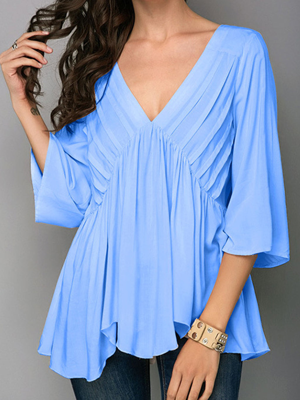 Solid V Neck 3/4 Sleeve Plus Size Loose Shirt