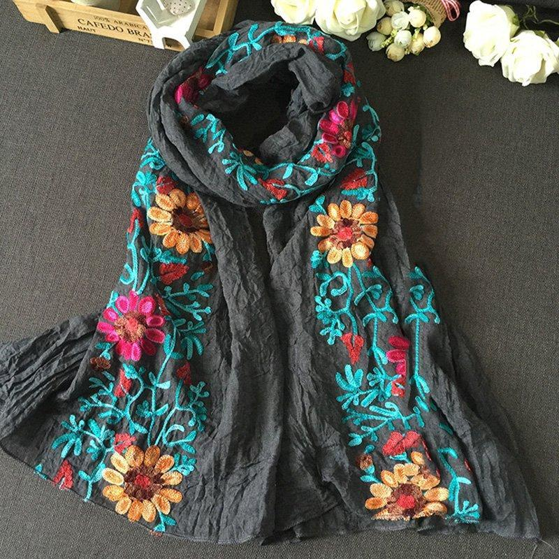 Women Embroided Floral Scarves