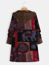 Vintage Print Warm Loose Mid-Length Coat