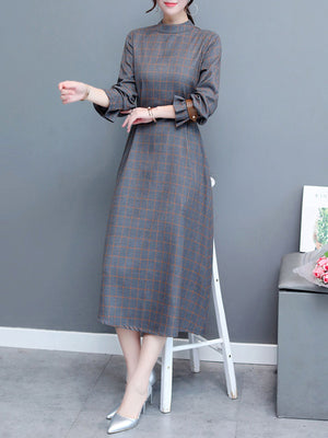 Elegant Plaid Print Turtle Swing Midi Dress