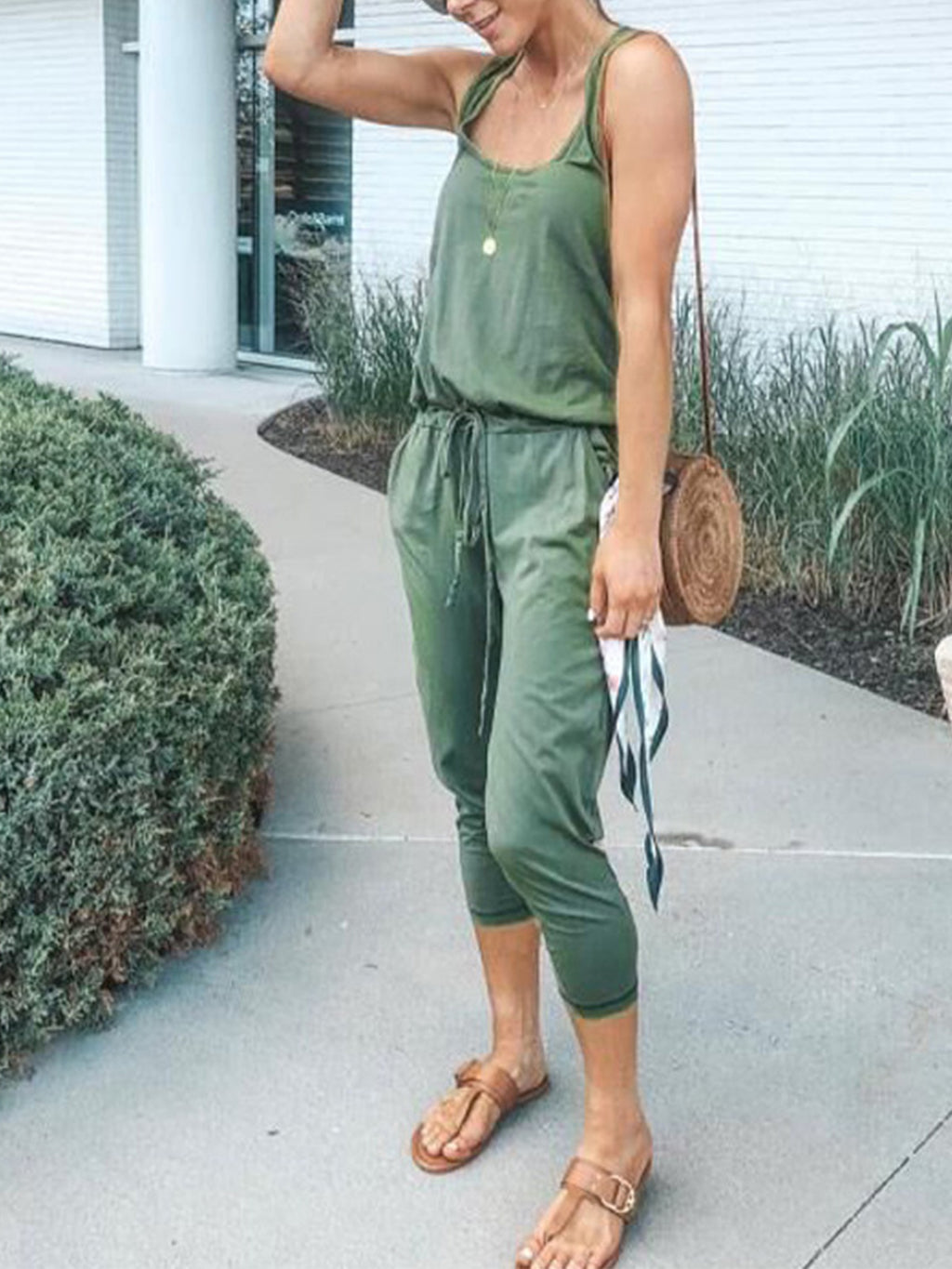 Solid Round Neck Cotton-Blend Sleeveless Jumpsuit