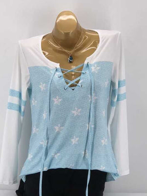 Lace-up V Neck Star Printing Long Sleeve Blouse