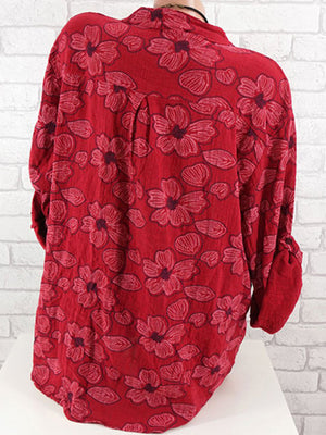 Floral Print V Neck Casual Long Sleeve Shirt