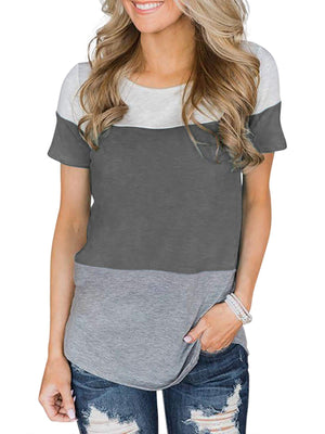 Color-block Round Neck Short Sleeve T-shirt