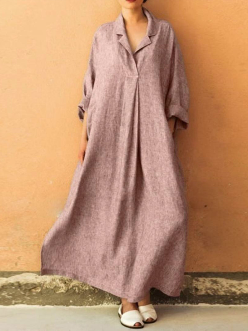 Solid Women Long Sleeve Cross V Neck Loose Maxi Shirtdress