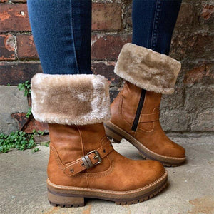 Women Winter Leather Low Heel Warm Boots