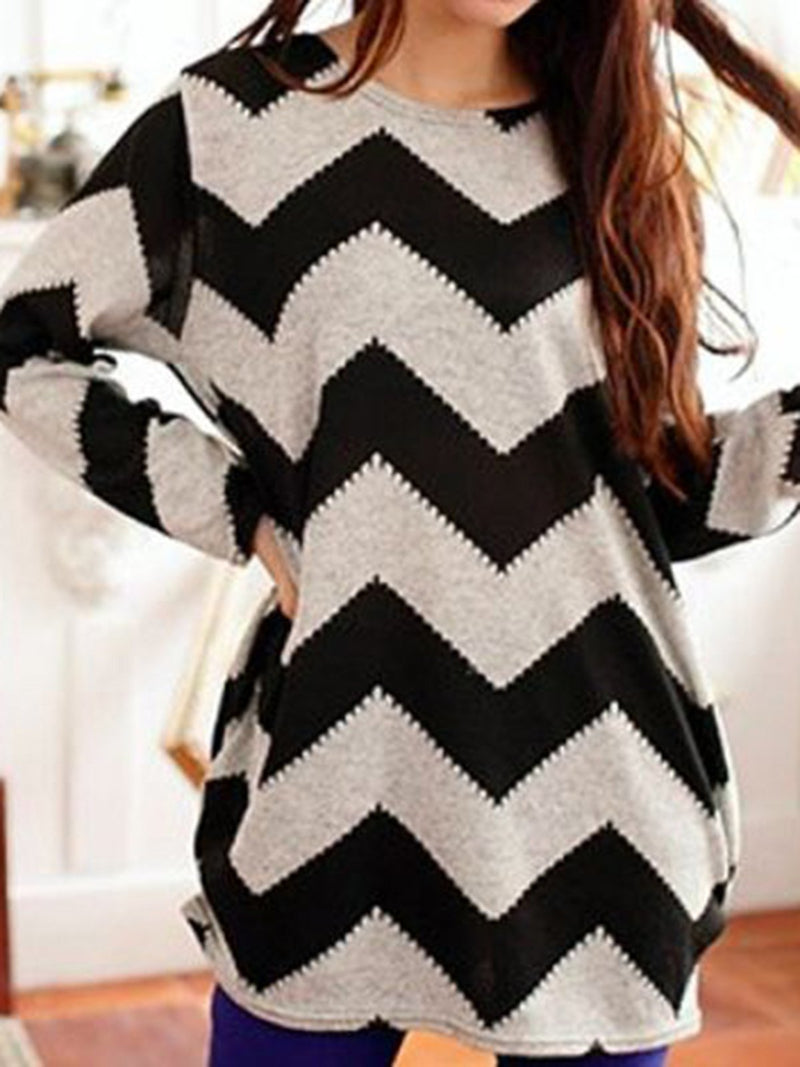 White Long Sleeve Geometric Chiffon Crew Neck Shirts & Tops