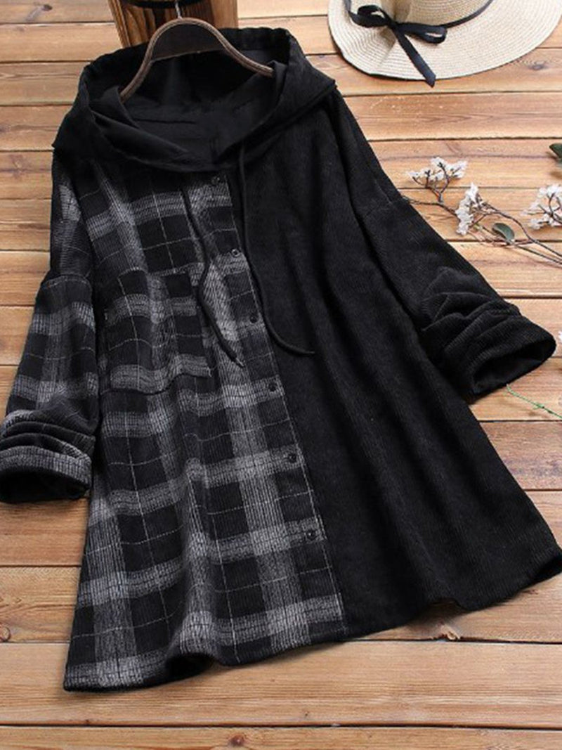 Plus Size Women Plaid Buttoned Hoodie Top Cardigan