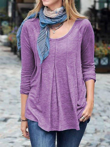 Blue Shirred Long Sleeve Round Neck Cotton-Blend Shirts & Tops