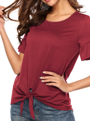 Solid Ruffle Round Neck Short Sleeve Fit T-shirt