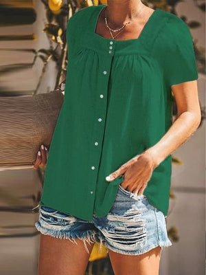 Women Buttoned Pleated Square Neck Short Sleeve Solid Casual Tops