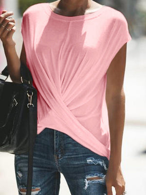 Causal Plain Wrap Short Sleeve T-shirt