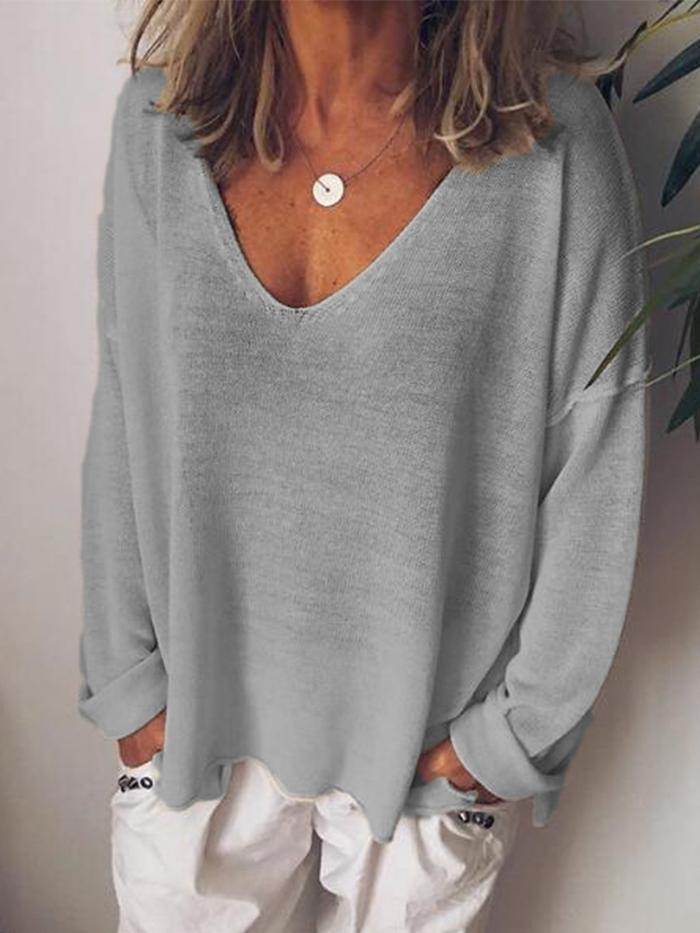 Casual V Neck Cotton Blend Long Sleeve Shirts Tops
