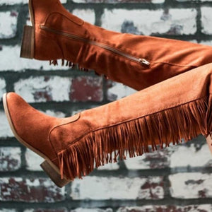 Buckle Strap Tassel Fringe Low Heel Over Knee Tall Boots