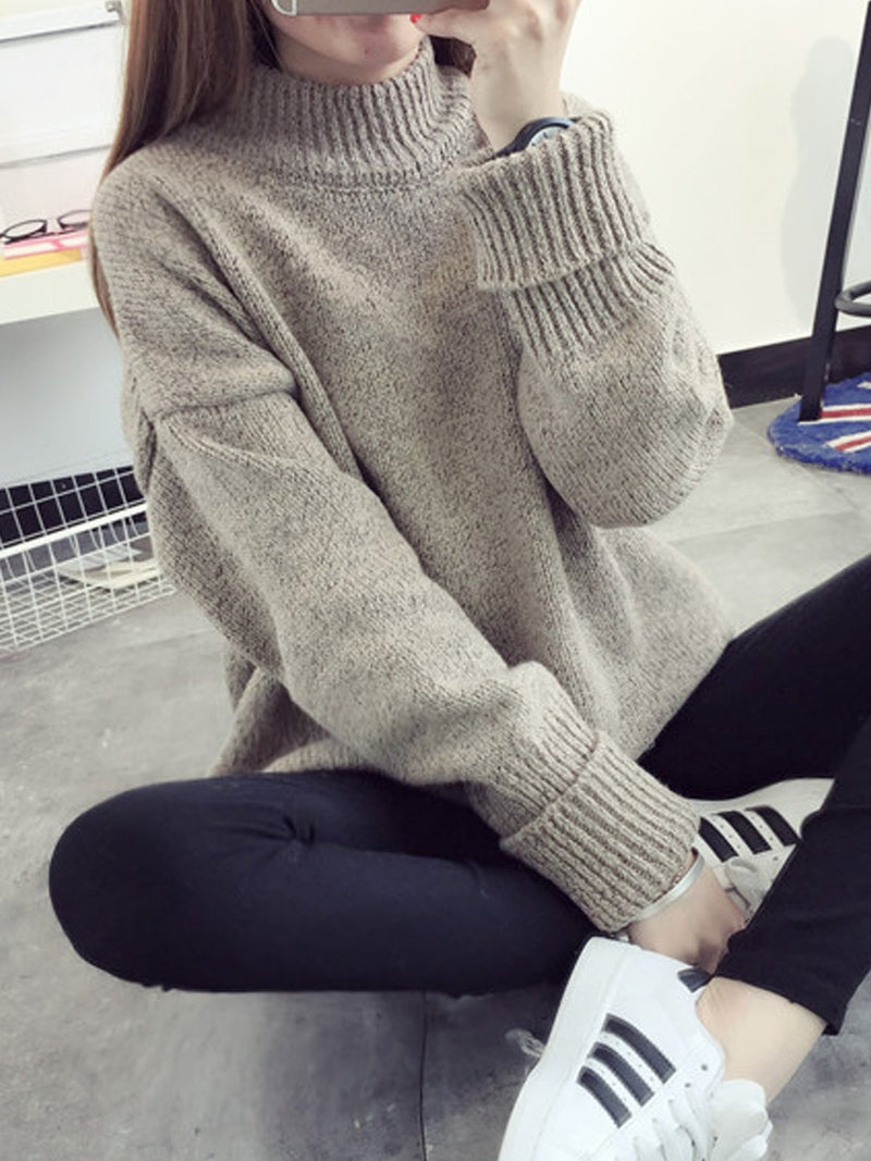 High neck pullover female loose sweater