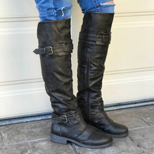 Plus Size Knee High Motorcycle Boots