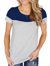 Stripe Round Neck Short Sleeve Loose T-shirt