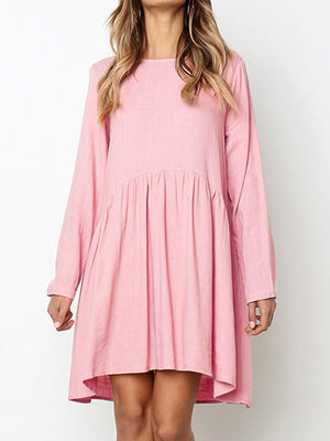 Round Neck Long Sleeve Linen Buttons Midi Dress