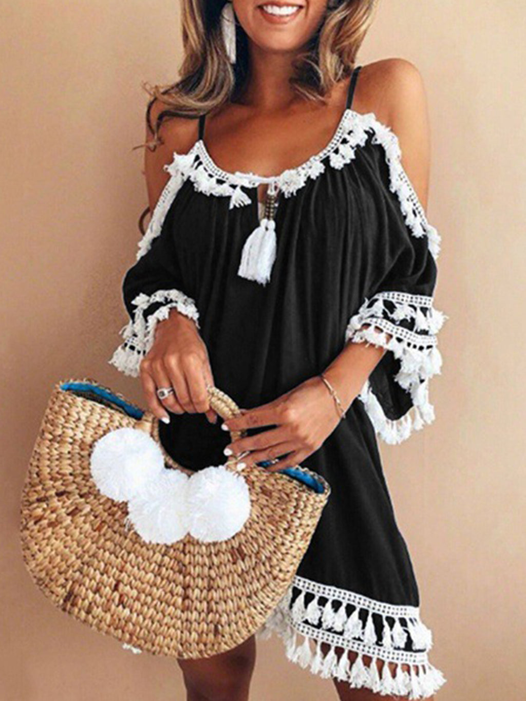Tassels Solid Off Shoulder Dress