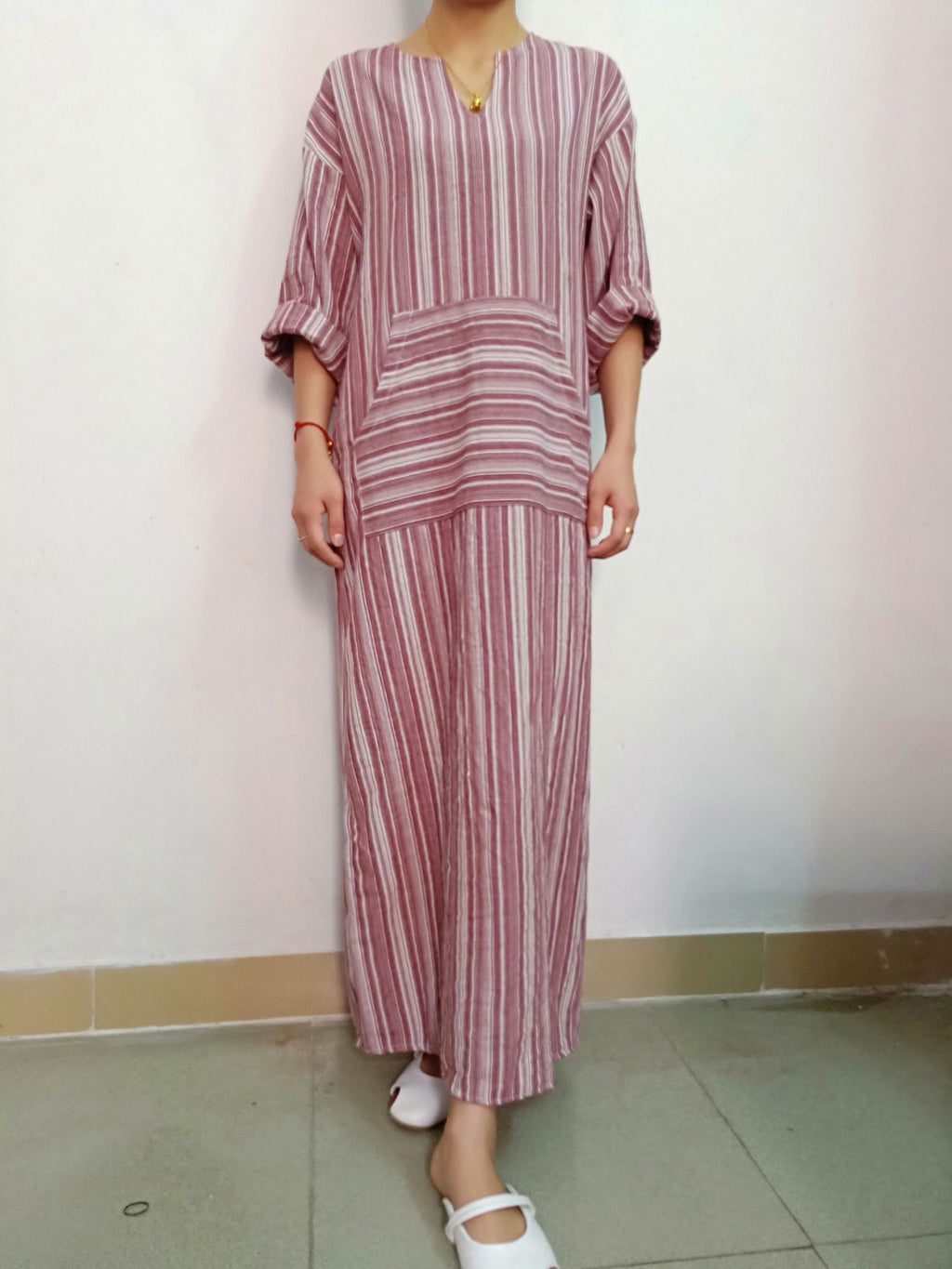 Cotton and Linen Stripe Maxi Dress