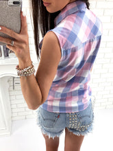 Women Plaid Print Sleeveless Shirt