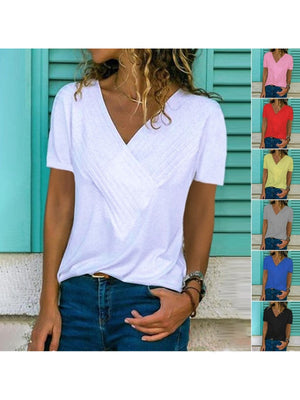 Paneled V Neck Short Sleeve Solid Women T-shirt