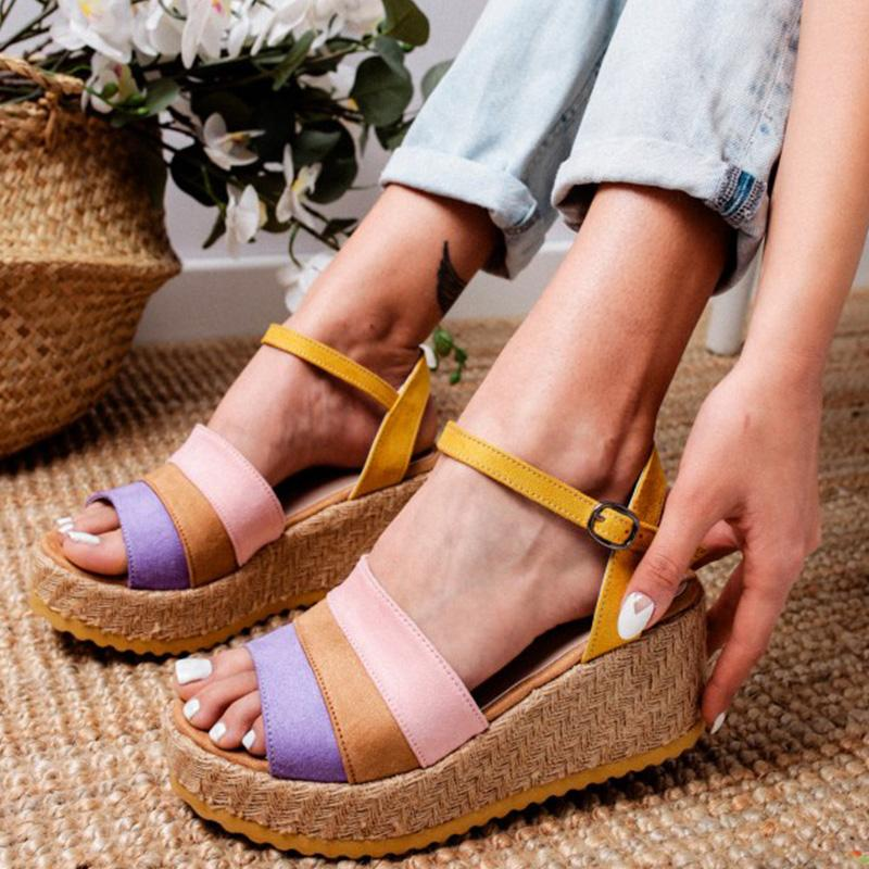 Wedge Heel Multicolor Sandals